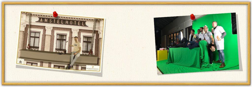 een prikbord van photobooth huren bij het amstel hotel in amsterdam